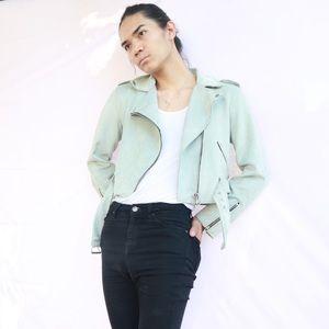 Francesca's Faux suede moto jacket Baby Blue Sz L